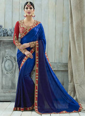 Blue & Purple Color Jacquard Crepe Designer Party Wear Sarees : Charchita Collection  YF-52111