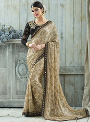 Light Brown Color Winkle Chiffon Designer Party Wear Sarees : Charchita Collection  YF-52112