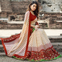 Cream & Red Color Wrinkle Chiffon Designer Party Wear Sarees : Manyata Collection  YF-52023