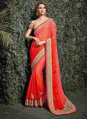 Peach & Orange Color Silk Chiffon Wedding Function Sarees : Siakshi Collection  YF-45643