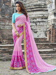 Pink Color Wrinkle Chiffon Designer Party Wear Sarees : Manyata Collection  YF-52024