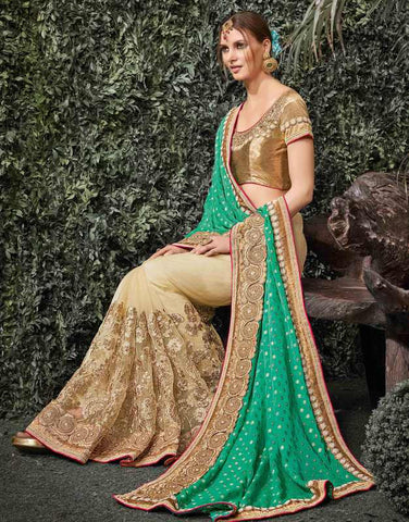 Light Coffee & Green Color Half Net & Half Viscose Wedding Function Sarees : Siakshi Collection  YF-45644
