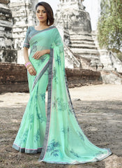 Pearl Green Color Wrinkle Chiffon Designer Party Wear Sarees : Manyata Collection  YF-52025