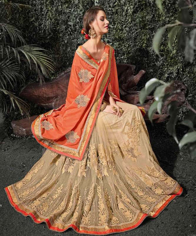 Light Coffee & Orange Color Half Net & Half Viscose Wedding Function Sarees : Siakshi Collection  YF-45645