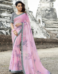 Pink Color Wrinkle Chiffon Designer Party Wear Sarees : Manyata Collection  YF-52026