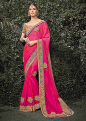 Pink Color Silk Chiffon Wedding Function Sarees : Siakshi Collection  YF-45646