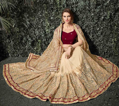 Light Coffee Color Net Wedding Function Sarees : Siakshi Collection  YF-45647