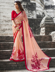 Peach Color Wrinkle Chiffon Designer Party Wear Sarees : Manyata Collection  YF-52028