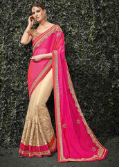 Light Coffee & Pink Color Half Net & Half Silk Chiffon Wedding Function Sarees : Siakshi Collection  YF-45648