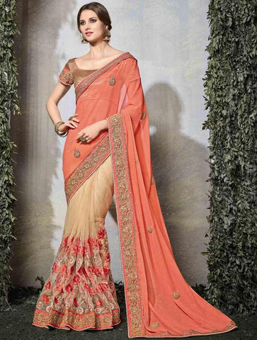 Light Coffee & Peach Color Half Net & Half Viscose Wedding Function Sarees : Siakshi Collection  YF-45649