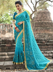 Firozi Color Wrinkle Chiffon Designer Party Wear Sarees : Manyata Collection  YF-52029