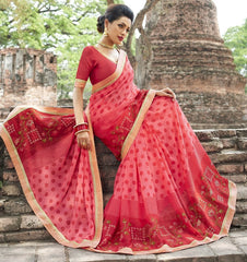 Pink & Red Color Wrinkle Chiffon Designer Party Wear Sarees : Manyata Collection  YF-52030
