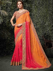 Orange & Pink Color Silk Chiffon Wedding Function Sarees : Siakshi Collection  YF-45650