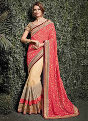 Light Coffee & Gajjaria Color Half Net & Half Banarasi Silk Wedding Function Sarees : Siakshi Collection  YF-45651