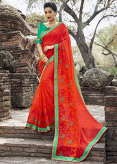 Orange & Red Color Wrinkle Chiffon Designer Party Wear Sarees : Manyata Collection  YF-52031