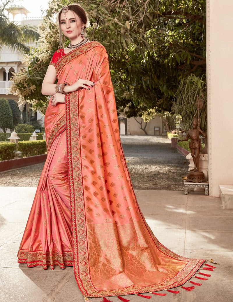Peach Color Banarasi Silk Designer Wedding Function Sarees : Taniri Collection  NYF-2913 - YellowFashion.in