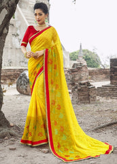 Yellow Color Wrinkle Chiffon Designer Party Wear Sarees : Manyata Collection  YF-52032