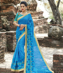 Blue Color Wrinkle Chiffon Designer Party Wear Sarees : Manyata Collection  YF-52033