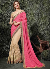 Light Coffee & Pink Color Half Net & Half Silk Chiffon Wedding Function Sarees : Siakshi Collection  YF-45653