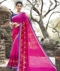 Rani Pink Color Wrinkle Chiffon Designer Party Wear Sarees : Manyata Collection  YF-52034