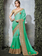 Light & Dark Green Color Chiffon Wedding Function Sarees : Siakshi Collection  YF-45654