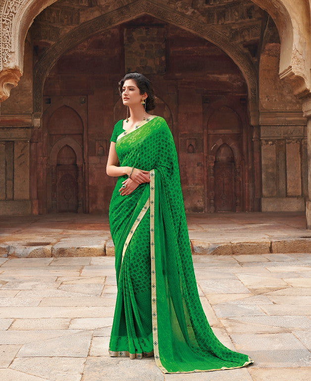 Green Color Georgette Casual Wear Saree -Ladli Bahu  Collection  YF#11277