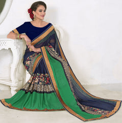 Blue & Green Color Georgette Festival & Function Wear Sarees : Nilambari Collection  YF-52321