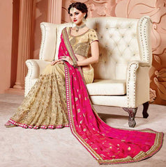 Golden & Pink Color Half Net & Half Satin Designer Party Wear Sarees : Mohisha Collection  YF-48113