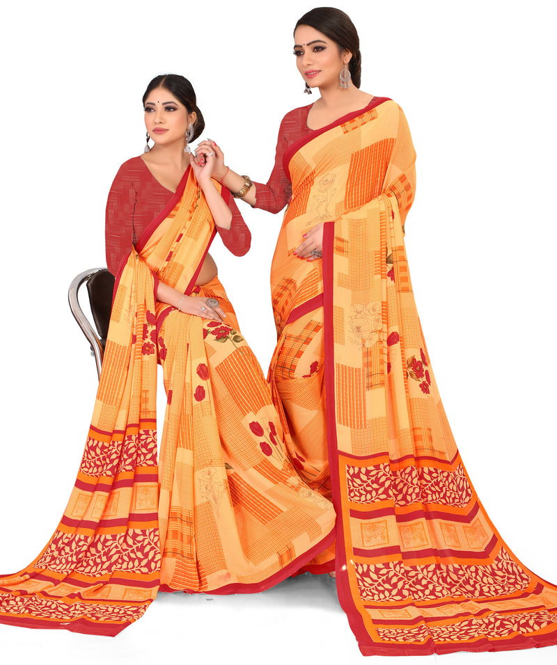 Orange Color Crepe Chiffon Daily Wear Printed Sarees NYF-7764