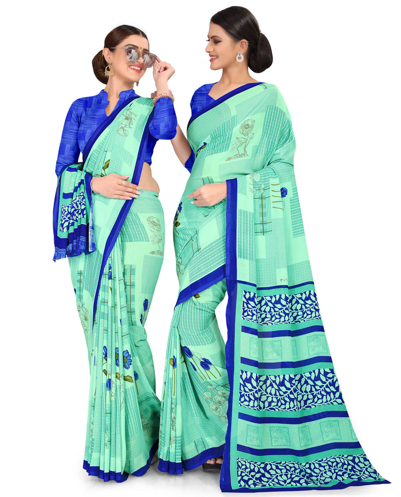 Aqua Green Color Crepe Chiffon Daily Wear Printed Sarees NYF-7765