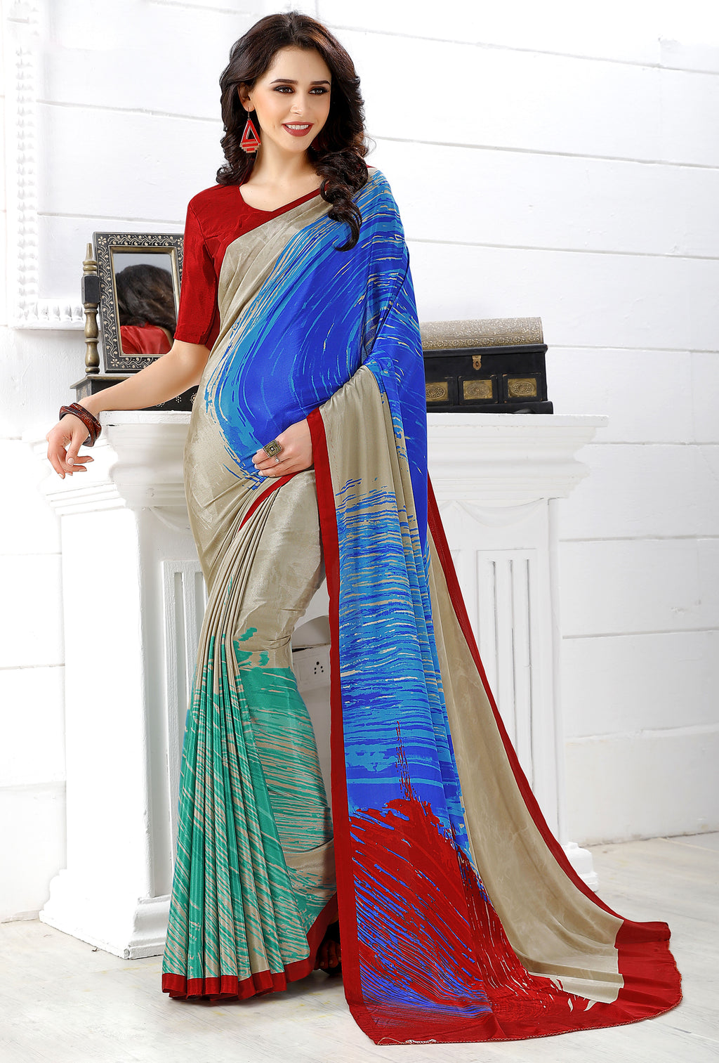 Multi Color Crepe  Digital Print Kitty Party Sarees NYF-8145