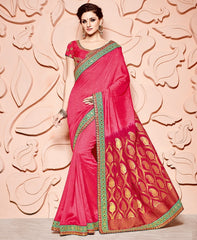 Pink & Red Color Satin Chiffon Designer Party Wear Sarees : Mohisha Collection  YF-48115