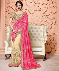 Pink & Golden Color Half Shimmer Raw Silk & Half Net Designer Party Wear Sarees : Mohisha Collection  YF-48118