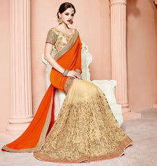 Orange & Golden Color Net Designer Party Wear Sarees : Mohisha Collection  YF-48121