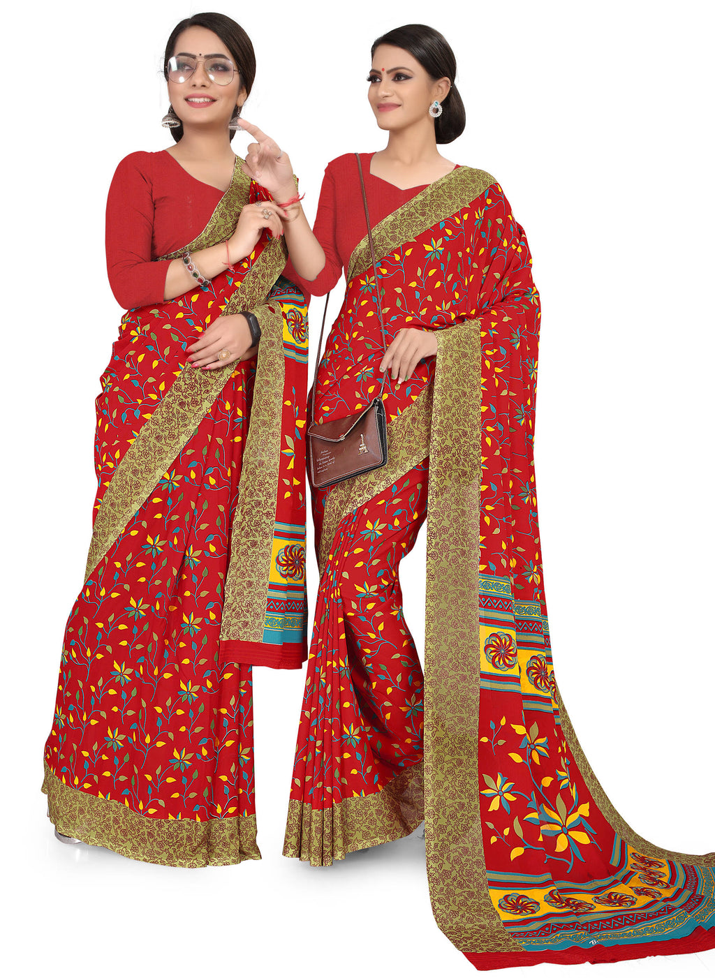Red Color Crepe Chiffon Daily Wear Printed Sarees NYF-7772
