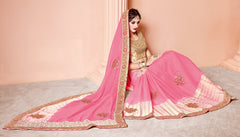 Pink Color Wrinkle Chiffon Designer Party Wear Sarees : Mohisha Collection  YF-48122