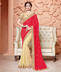Golden & Red Color Half Wrinkle Chiffon & Half Georgette Butti Designer Party Wear Sarees : Mohisha Collection  YF-48123