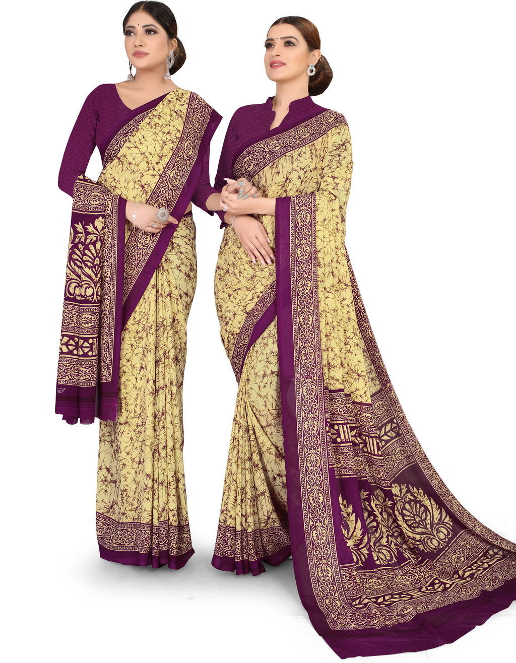 Light Yellow & Purple Color Crepe Chiffon Daily Wear Printed Sarees NYF-7774