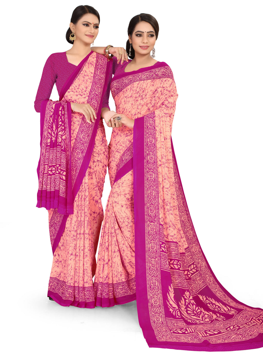 Peach & Pink Color Crepe Chiffon Daily Wear Printed Sarees NYF-7775