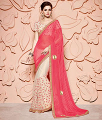 Pink & Cream Color Half Net & Half Wrinkle Chiffon Designer Party Wear Sarees : Mohisha Collection  YF-48125