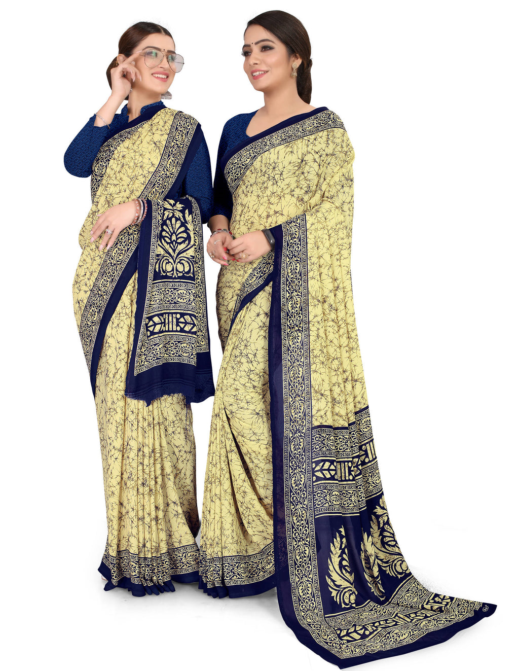 Light Yellow & Blue Color Crepe Chiffon Daily Wear Printed Sarees NYF-7776