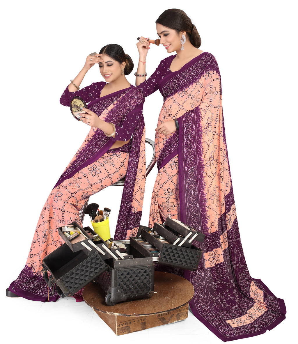 Peach & Purple Color Crepe Chiffon Daily Wear Printed Sarees NYF-7778
