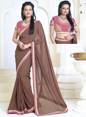 Brown & Pink Color Georgette Casual Party Sarees : Amrit Collection YF-30194