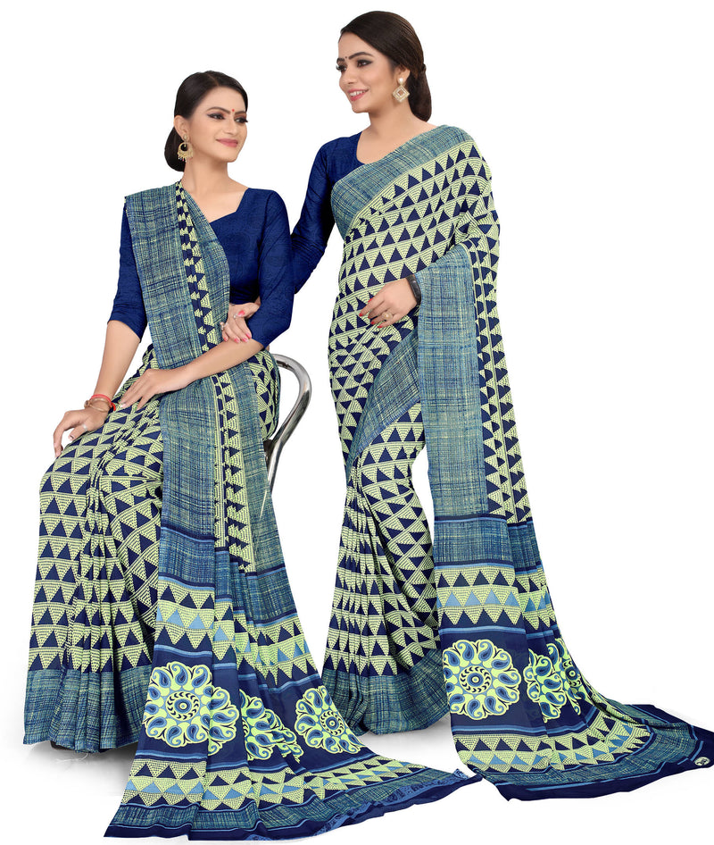 Blue Color Crepe Chiffon Daily Wear Printed Sarees NYF-7781