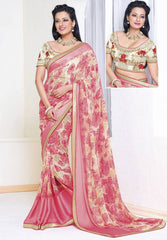 Pink Color Georgette Casual Party Sarees : Amrit Collection  YF-30197