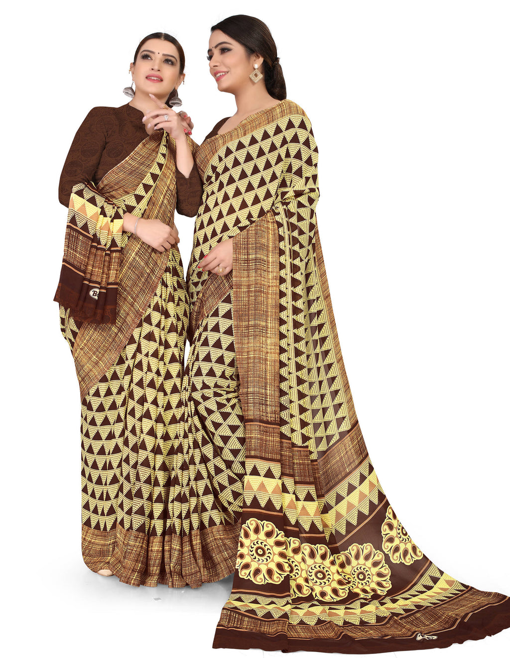 Brown Color Crepe Chiffon Daily Wear Printed Sarees NYF-7782