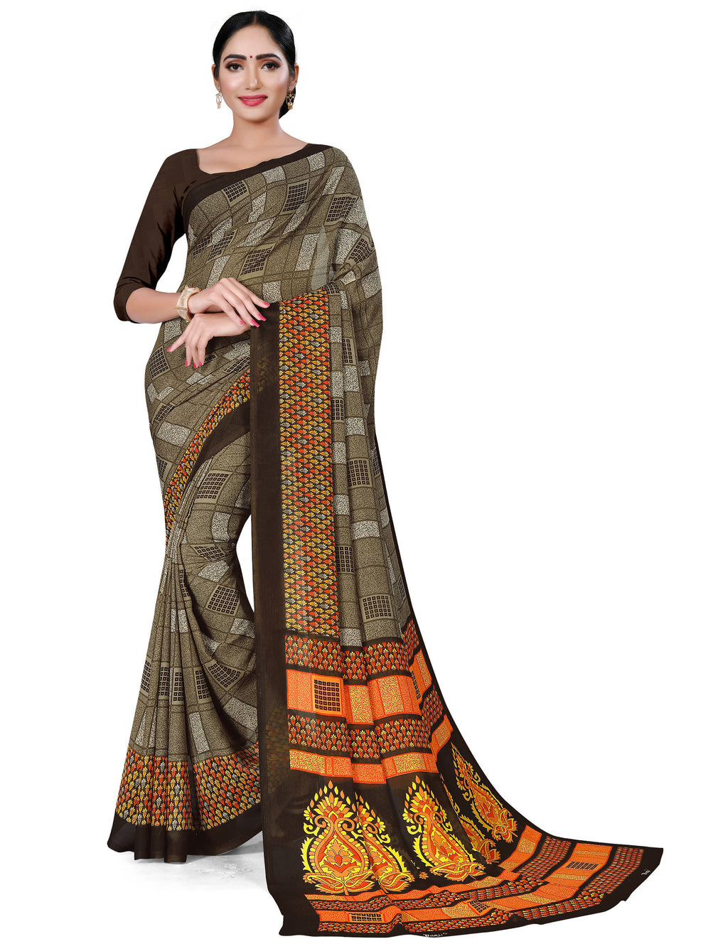 Mud Color Crepe Chiffon Daily Wear Printed Sarees NYF-7783
