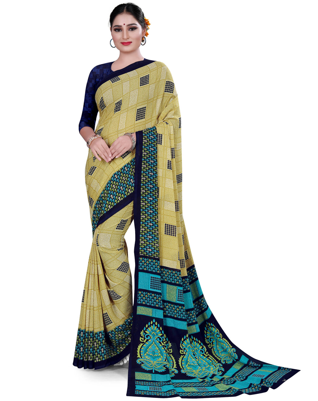 Multi Color Crepe Chiffon Daily Wear Printed Sarees NYF-7784
