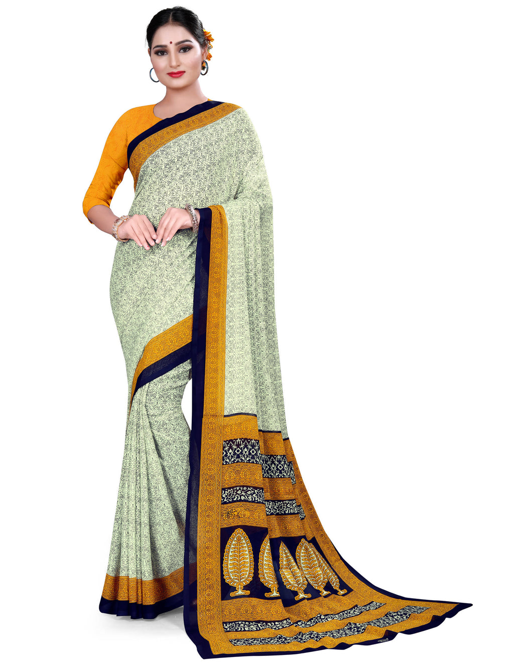 White, Blue & Yellow Color Crepe Chiffon Daily Wear Printed Sarees NYF-7787