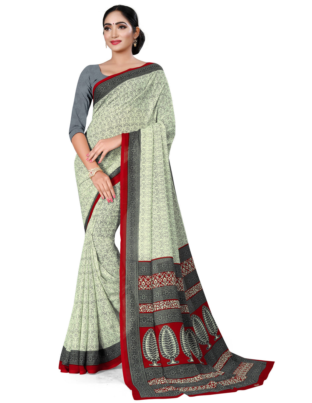 White & Grey Color Crepe Chiffon Daily Wear Printed Sarees NYF-7788
